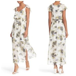 Joie white silk floral print maxi dress leg slit